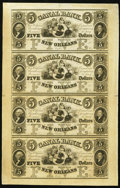Obsoletes By State:Louisiana, New Orleans, LA- New Orleans Canal & Banking Company $5-$5-$5-$5 18__ Uncut Sheet. ...