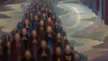 Fine Art - Painting, American, Olin Travis (American, 1888-1975). Return of the Martyrs.Oil on canvas. 25 x 44-1/4 inches (63.5 x 112.4 cm). Signed lo...