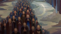 Olin Travis (American, 1888-1975) Return of the Martyrs Oil on canvas 25 x 44-1/4 inches (63.5 x