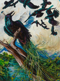 Melissa Miller (American, b. 1951) The Raven as Peacock, 1985 Acrylic on paper 30 x 22 inches (76