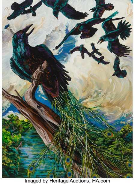 Melissa Miller (American, b. 1951)The Raven as Peacock, 1985Acrylic on paper30 x 22 inches (76.2 x 55.9 cm) (sheet...