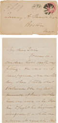 Military & Patriotic:Civil War, [Robert Gould Shaw]: Poignant and Intimate Letter From Robert Gould Shaw's Father to His Brother Regarding His Son's Death....