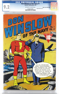 Don Winslow of the Navy #1 Mile High pedigree (Fawcett, 1943) CGC NM- 9.2 Off-white to white pages. Captain Marvel makes...