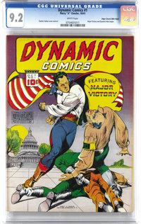Dynamic Comics #1 Mile High pedigree (Chesler, 1941) CGC NM- 9.2 White pages. Major Victory strikes a blow for freedom i...