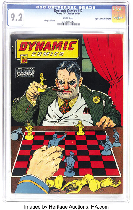 Dynamic Comics #12 Mile High pedigree (Chesler, 1944) CGC NM- 9.2 White pages. Great page quality and the finest of all pedi...