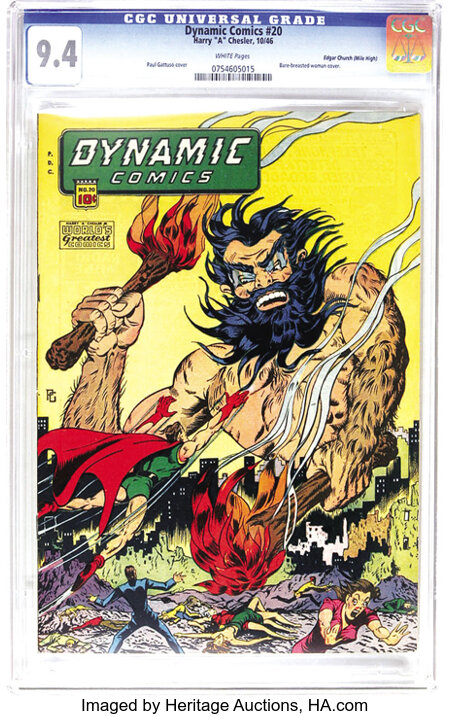 Dynamic Comics #20 Mile High pedigree (Chesler, 1946) CGC NM 9.4 White pages. The Paul Gattuso bare-breasted woman cover is ...