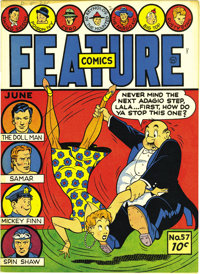 Feature Comics #57 Mile High pedigree (Quality, 1942) Condition: NM+. Yowzers, look at the spine of this Edgar Church co...