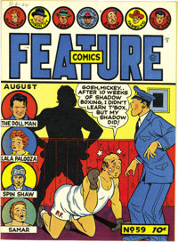 Feature Comics #59 Mile High pedigree (Quality, 1942) Condition: NM. This copy's so pretty, it's unlikely it will be rea...
