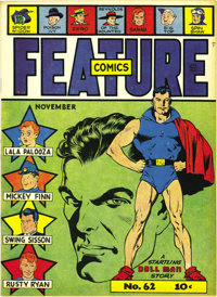 Feature Comics #62 Mile High pedigree (Quality, 1942) Condition: NM+. The Doll Man takes on Japanese spies in this issue...