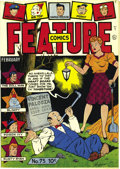 Golden Age (1938-1955):Miscellaneous, Feature Comics #75 Mile High pedigree (Quality, 1944) Condition: NM+. For collectors of the unique, how about a cover with a...