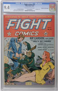 Golden Age (1938-1955):War, Fight Comics #21 Mile High pedigree (Fiction House, 1942) CGC NM9.4 Off-white to white pages. An intense Dan Zolnerowich bo...