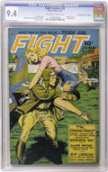 "Golden Age (1938-1955):War, Fight Comics #38 Davis Crippen (""D"" Copy) pedigree (Fiction House,1945) CGC NM 9.4 Off-white to white pages. ""Hey, that guy..."