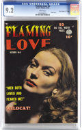 """Golden Age (1938-1955):Romance, Flaming Love #6 Davis Crippen (""""D"""" Copy) pedigree (Quality, 1950)CGC NM- 9.2 White pages. This smoldering hot photo cover m..."""