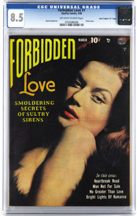 "Forbidden Love #1 Davis Crippen (""D"" Copy) pedigree (Quality, 1950) CGC VF+ 8.5 Off-white to white pages. This..."