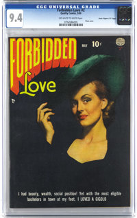 "Forbidden Love #2 Davis Crippen (""D"" Copy) pedigree (Quality, 1950) CGC NM 9.4 Off-white to white pages. The p..."