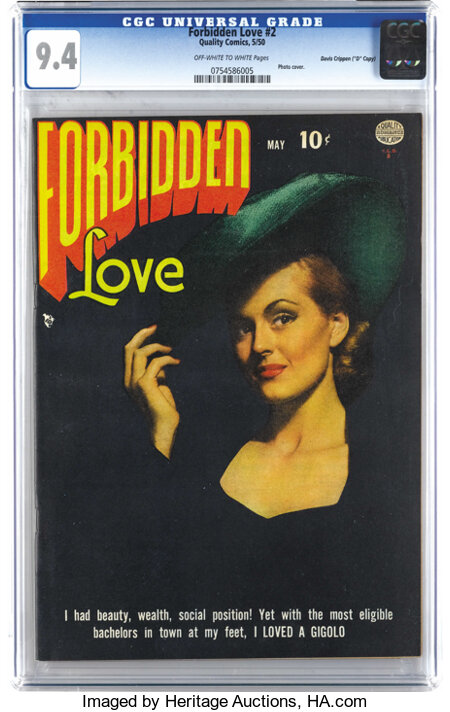 "Forbidden Love #2 Davis Crippen (""D"" Copy) pedigree (Quality, 1950) CGC NM 9.4 Off-white to white pages. The photo cover of ..."