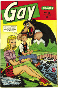 Gay Comics #18 Mile High pedigree (Timely, 1944) Condition: VF/NM. Just the second issue of this title, this appeared ha...