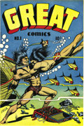 "Golden Age (1938-1955):Adventure, Great Comics #1 Novack Variant - Mile High pedigree (Novack, 1945) Condition: NM+. This is the version of the issue with ""Ju..."