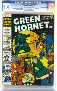 Green Hornet Comics #8 Mile High pedigree (Harvey, 1942) CGC NM 9.4 Off-white pages. There can't be too many copies of t...