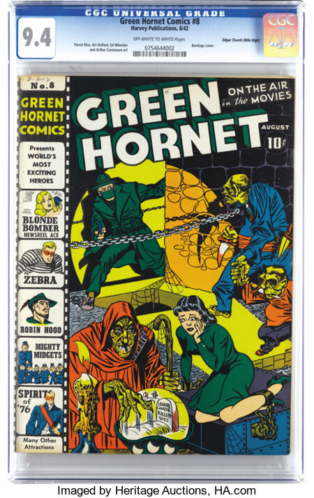 Green Hornet Comics #8 Mile High pedigree (Harvey, 1942) CGC NM 9.4 Off-white pages. There can't be too many copies of this ...