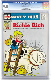 Harvey Hits #3 File Copy (Harvey, 1957) CGC VF/NM 9.0 Cream to off-white pages. This is the first comic book devoted to...