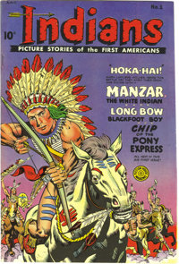 Indians #1 Mile High pedigree (Fiction House, 1950) Condition: NM-. Kids of the early 1950s couldn't get enough of cowbo...