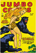 "Golden Age (1938-1955):Adventure, Jumbo Comics #107 Mile High pedigree (Fiction House, 1948)Condition: NM-. Matt Baker's ""Sky Girl"" had a way of exposingher..."