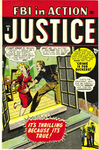 "Justice Comics #8 (#2) Mile High pedigree (Atlas, 1948) Condition: NM-. This copy has that great ""cedar smell""..."