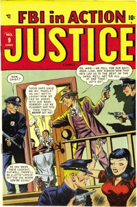 """Justice Comics #9 (#3) Mile High pedigree (Atlas, 1948) Condition: NM-. Timely isn't known for """"headlight"""" cov..."""