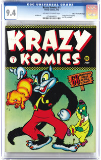 Krazy Komics #1 Mile High pedigree (Timely, 1942) CGC NM 9.4 Off-white to white pages. This was Timely's first funny ani...