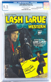 Lash LaRue Western #1 Mile High pedigree (Fawcett, 1949) CGC NM- 9.2 Off-white to white pages. Fawcett scored a coup by...