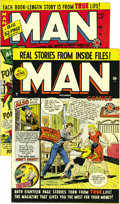 Golden Age (1938-1955):Non-Fiction, Man Comics #1 and 3 Mile High pedigree Group (Atlas, 1949-50)Condition: NM-. Are you Man enough for these Mile Highs? T...(Total: 2 Comic Books)