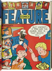 Feature Funnies and Feature Comics Bound Volumes Group (Quality, 1938-44). This lot consists of five volumes containing...