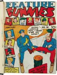 Feature Funnies and Feature Comics #16-27 Bound Volume (Chesler and Quality, 1939). This volume has trimmed and bound co...