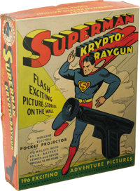 Superman Krypto-Raygun Projector Pistol With Box (Daisy, 1940). The word Kryptonite appeared for the first time anywhere...