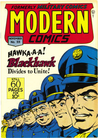 Modern Comics #55 Mile High pedigree (Quality, 1946) Condition: NM+. In addition to the adventures of Blackhawk, this is...