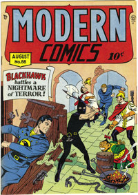 """Modern Comics #88 Mile High pedigree (Quality, 1949) Condition: NM+. This issue's """"hooded executioner"""" cover a..."""