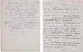 Football Collectibles:Others, 1963-67 Vince Lombardi Handwritten Letters Lot of 2. . ...