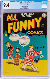 All Funny Comics #6 Mile High Pedigree (DC, 1945) CGC NM 9.4 Off-white to white pages
