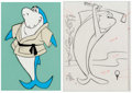 Animation Art:Color Model, Jabberjaw Opening Title Color Model Cel and Animation Drawing (Hanna-Barbera, 1976).... (Total: 2 Items)