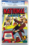 Golden Age (1938-1955):War, National Comics #42 Mile High pedigree (Quality, 1944) CGC NM+ 9.6White pages. The Barker made his debut here and took over...