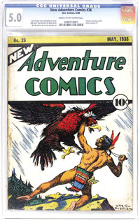 New Adventure Comics #26 (DC, 1938) CGC VG/FN 5.0 Cream to off-white pages. This is widely considered the rarest DC comi...
