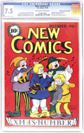 New Comics #11 Mile High pedigree (DC, 1936) CGC VF- 7.5 Off-white to white pages. This Edgar Church copy holds the sing...
