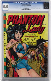 Phantom Lady #17 (Fox Features Syndicate, 1948) CGC FN- 5.5 Pink pages. Overstreet notes the classic Matt Baker bondage...