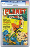Golden Age (1938-1955):Science Fiction, Planet Comics #62 (Fiction House, 1949) CGC FN/VF 7.0 Off-whitepages. George Evans and Joe Doolin art. Nice bright cover co...