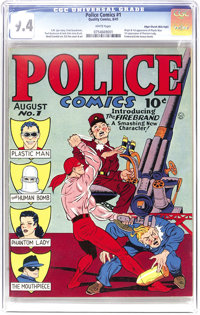 Police Comics #1 Mile High pedigree (Quality, 1941) CGC NM 9.4 White pages. Wow! The 1941 first appearance of Plastic Ma...