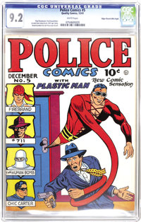 Police Comics #5 Mile High pedigree (Quality, 1941) CGC NM- 9.2 White pages. Jack Cole's popular creation, Plastic Man...