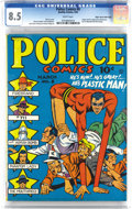 Golden Age (1938-1955):Superhero, Police Comics #8 Mile High pedigree (Quality, 1942) CGC VF+ 8.5 White pages. This Mile High copy contains the first appearan...