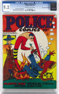 Golden Age (1938-1955):Superhero, Police Comics #17 Mile High pedigree (Quality, 1943) CGC NM- 9.2 Off-white to white pages. Plas passes the peace pipe on thi...