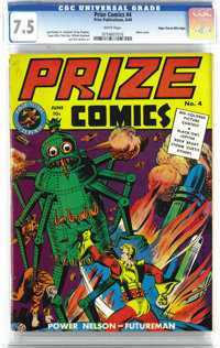 Prize Comics #4 Mile High pedigree (Prize, 1940) CGC VF- 7.5 White pages. This robot cover features Power Nelson (a Flas...